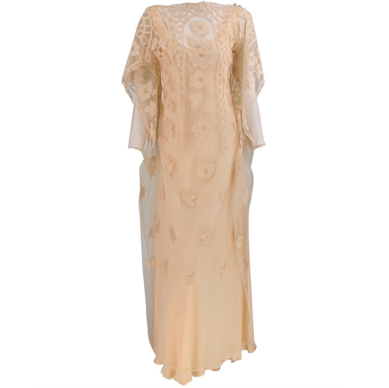 Vintage Stavropoulos cream chiffon & lace tabard gown 1960s