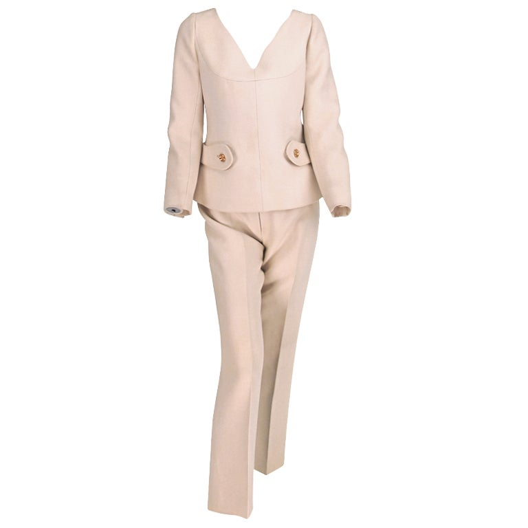 1960s Numbered Courreges Couture cream wool pantsuit