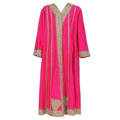 1960s Hot pink silk caftan coat with gold bouillon embroidery