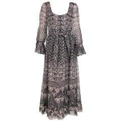 1970s Oscar de la Renta Bohemian tribal print dress