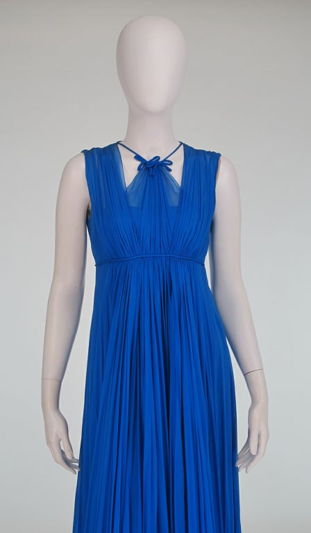1950s Sophie of Saks blue chiffon gown 3