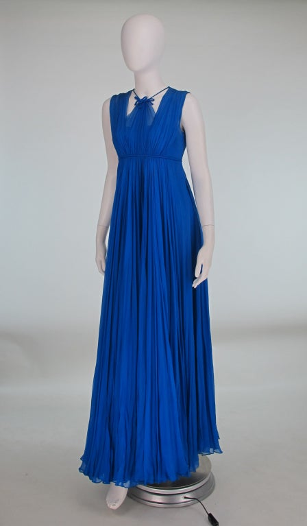 1950s Sophie of Saks blue chiffon gown 4