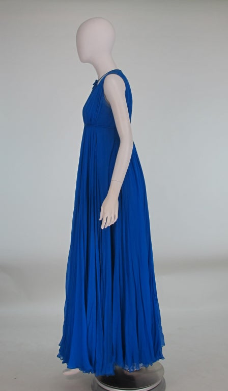 1950s Sophie of Saks blue chiffon gown 5