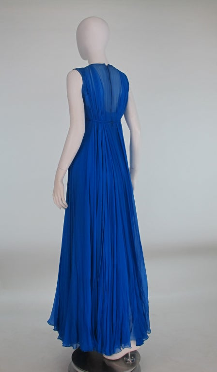 1950s Sophie of Saks blue chiffon gown 6