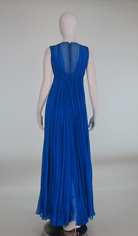 1950s Sophie of Saks blue chiffon gown 7