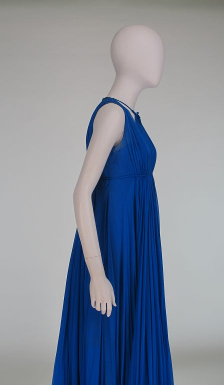 1950s Sophie of Saks blue chiffon gown 8