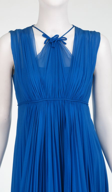 1950s Sophie of Saks blue chiffon gown 10