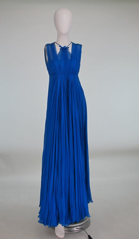 1950s Sophie of Saks blue chiffon gown 2