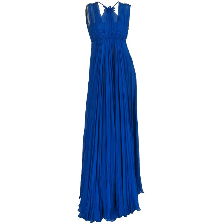 1950s Sophie of Saks blue chiffon gown 1
