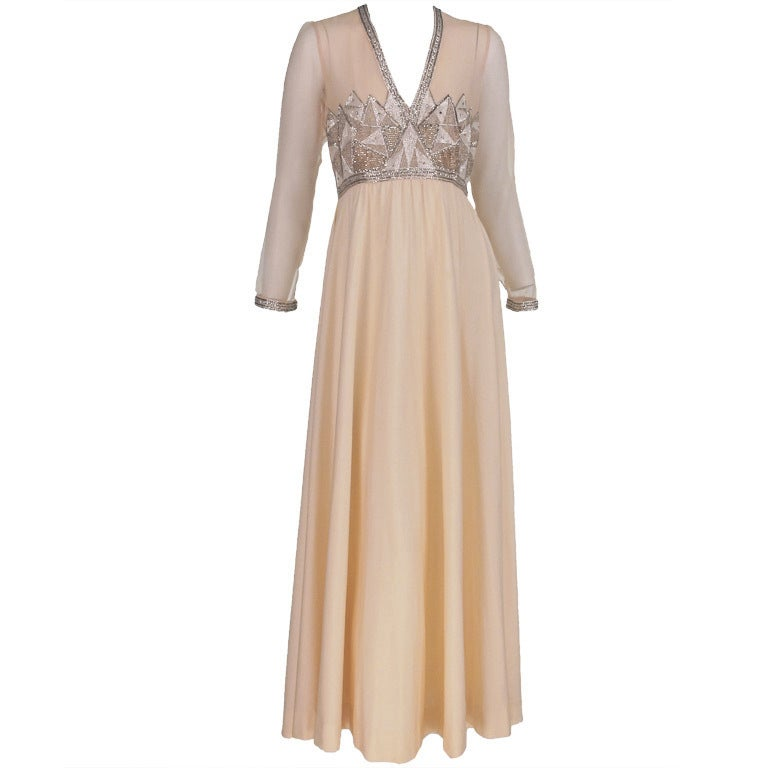 Beaded deco style gown silver and cream 1970s at 1stdibs for Costume jewelry for evening gowns