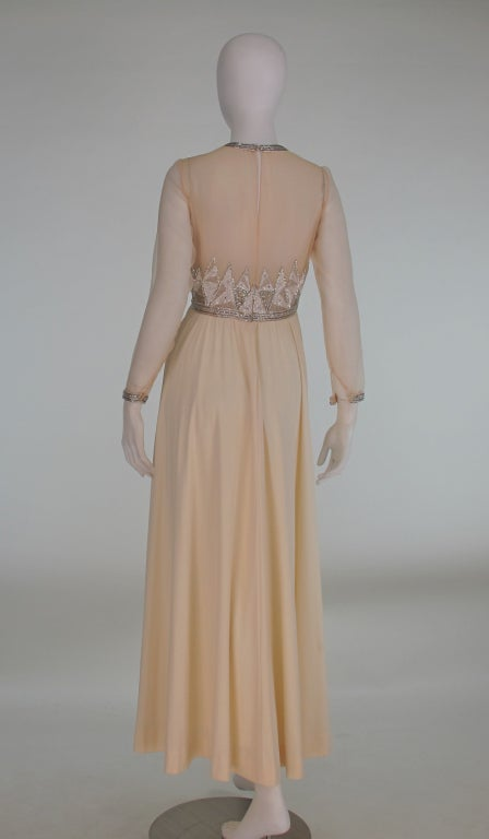 beaded deco style gown silver and 1970s at 1stdibs