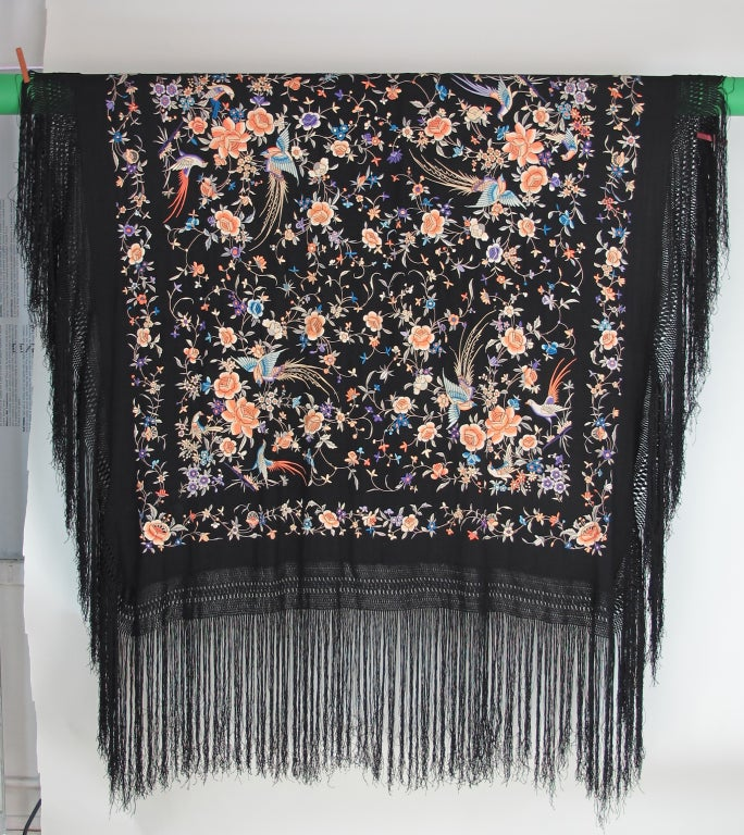 1920s Hand embroidered Canton silk shawl 2