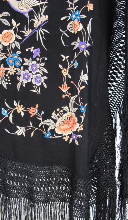 1920s Hand embroidered Canton silk shawl 5