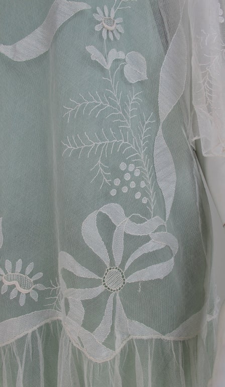 1920s Gatsby era embroidered tulle tea/wedding dress For Sale 5