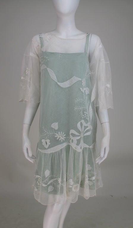 1920s Gatsby era embroidered tulle tea/wedding dress 3