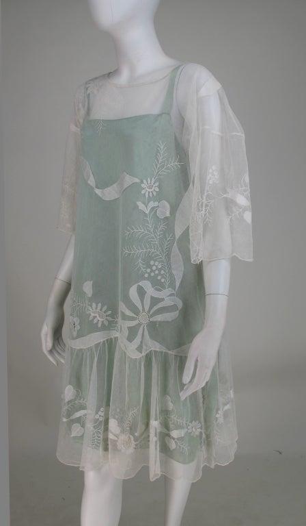 1920s Gatsby era embroidered tulle tea/wedding dress 4
