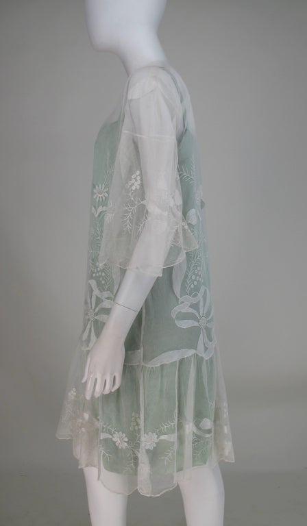 Women's 1920s Gatsby era embroidered tulle tea/wedding dress For Sale