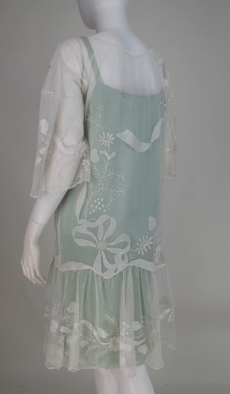 1920s Gatsby era embroidered tulle tea/wedding dress For Sale 1