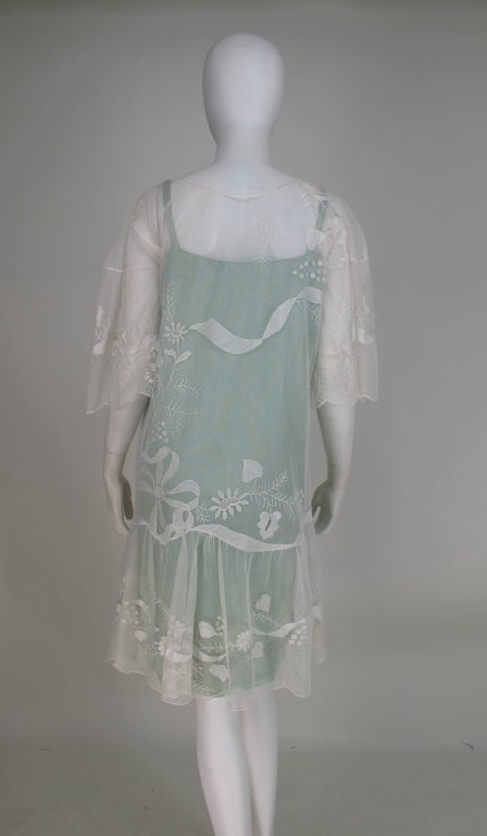 1920s Gatsby era embroidered tulle tea/wedding dress For Sale 2