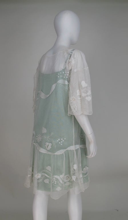 1920s Gatsby era embroidered tulle tea/wedding dress For Sale 3
