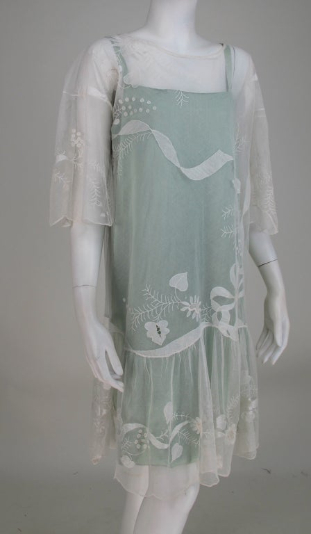 1920s Gatsby era embroidered tulle tea/wedding dress For Sale 4