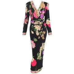 Leonard, Paris silk print V front  maxi dress