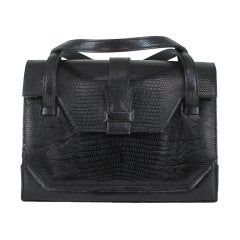 Lucille de Paris large black lizard  satchel handbag