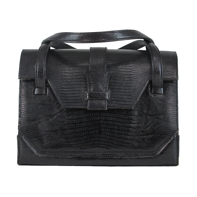 Lucille de Paris large black lizard  satchel handbag