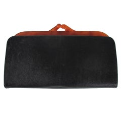 Saks 5th Ave.leather &  faux tortoise shell clutch France