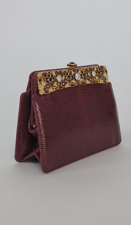 Judith Leiber  Burgundy lizard clutch with enamel & jewel frame 3