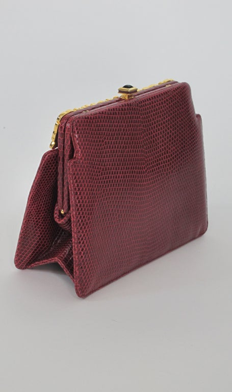 Judith Leiber  Burgundy lizard clutch with enamel & jewel frame 6