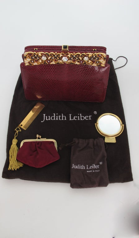 Judith Leiber  Burgundy lizard clutch with enamel & jewel frame 7