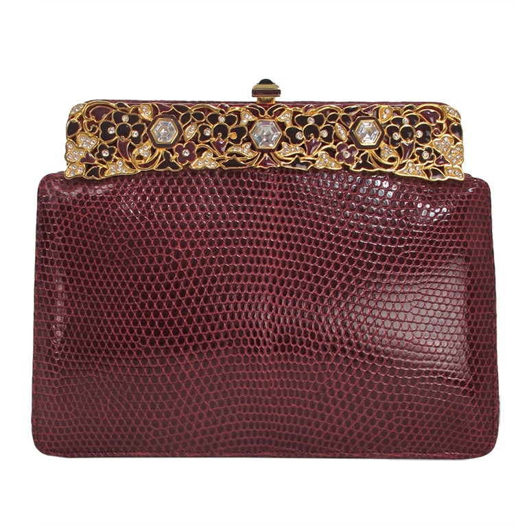 Judith Leiber  Burgundy lizard clutch with enamel & jewel frame 1