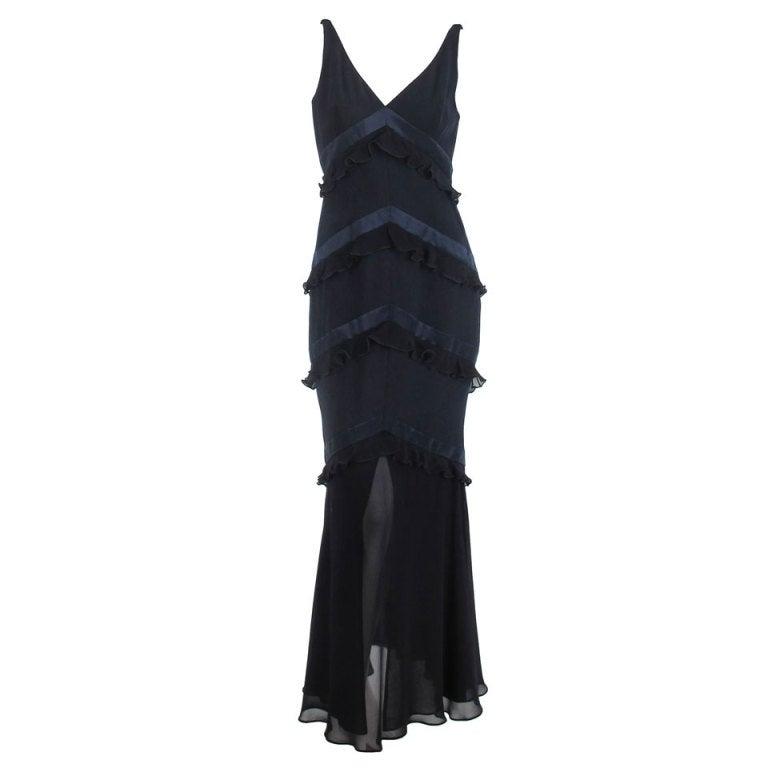 Escada tiered silk gown in navy