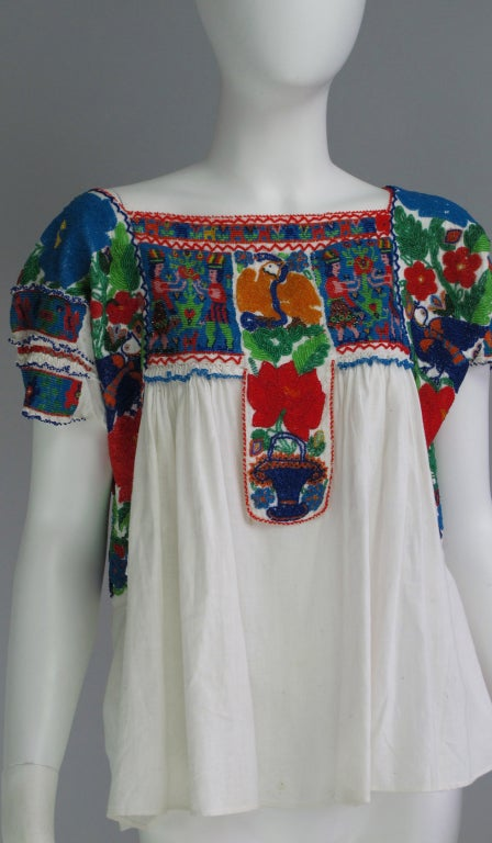 Rare micro beaded Mexican peasant blouse 2