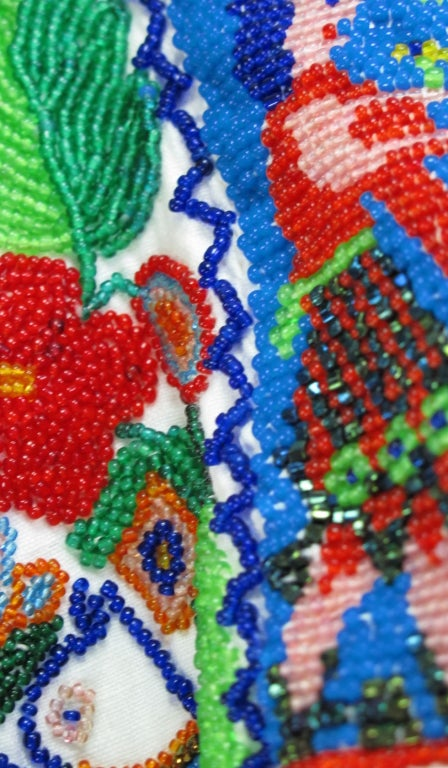 Rare micro beaded Mexican peasant blouse 10