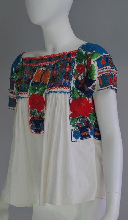 Rare Micro Beaded Mexican Peasant Blouse