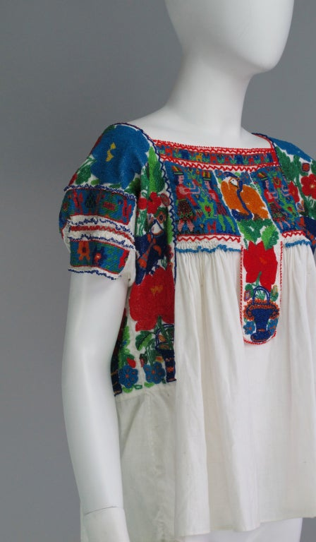 Rare micro beaded Mexican peasant blouse 4