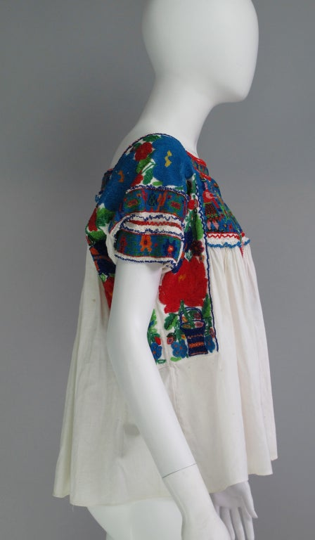 Rare micro beaded Mexican peasant blouse 5