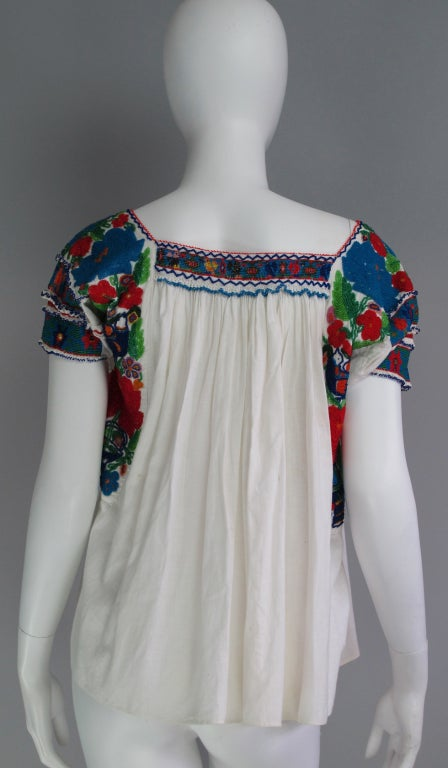 Rare micro beaded Mexican peasant blouse 6