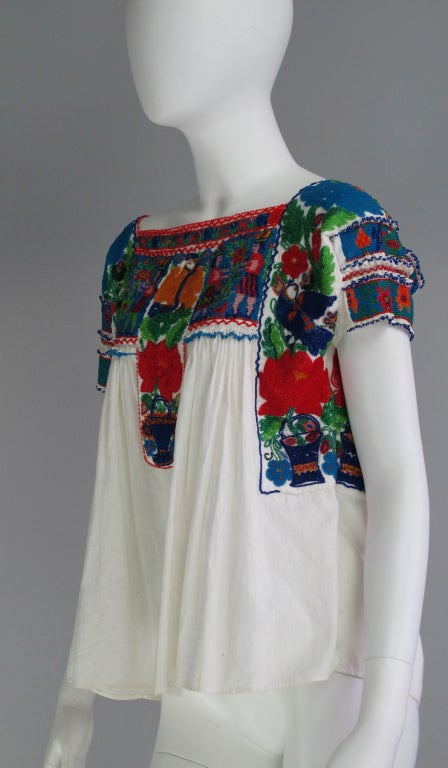 Rare micro beaded Mexican peasant blouse 7