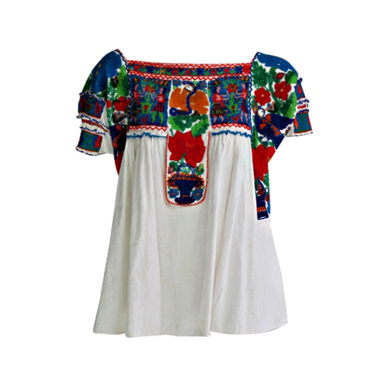 Rare micro beaded Mexican peasant blouse 1