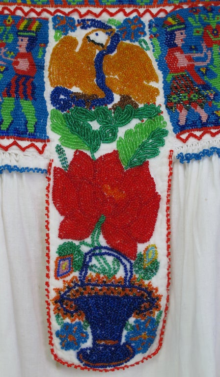 Rare micro beaded Mexican peasant blouse 9