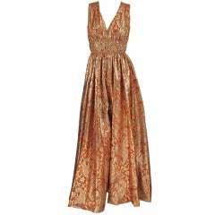 1960s Malcolm Starr jeweled gold brocade palazzo gown