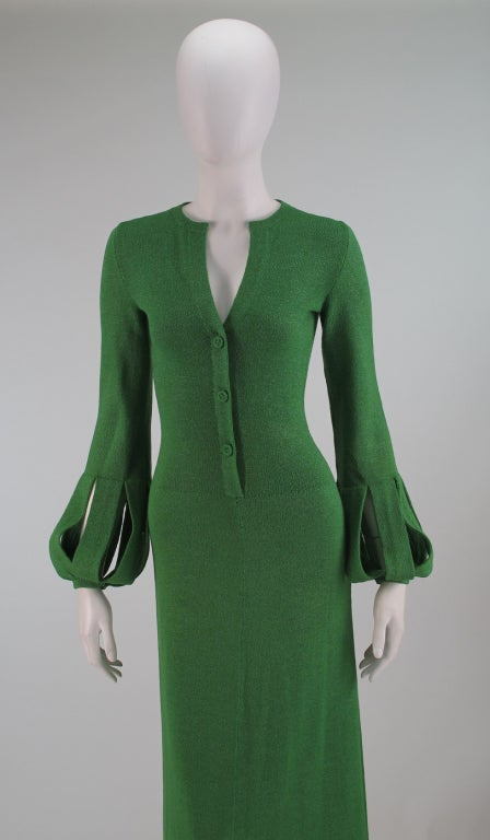 Adolfo boucle cage sleeve hostess gown 1970s 2