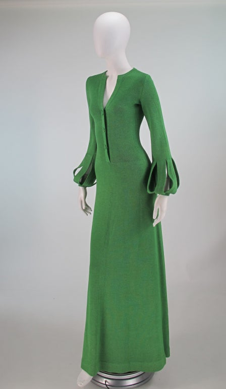 Adolfo boucle cage sleeve hostess gown 1970s 3