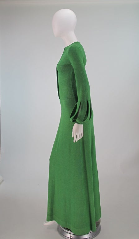 Adolfo boucle cage sleeve hostess gown 1970s 4