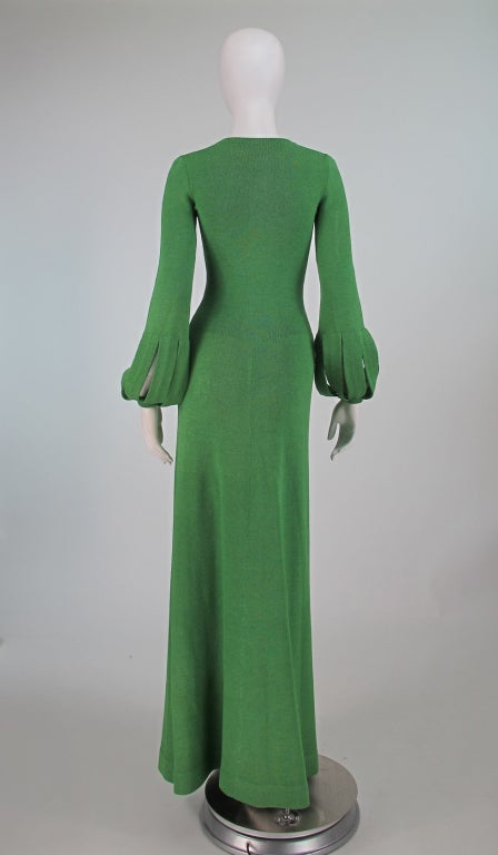 Adolfo boucle cage sleeve hostess gown 1970s 5