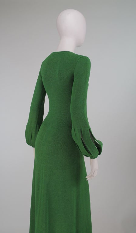 Adolfo boucle cage sleeve hostess gown 1970s 6