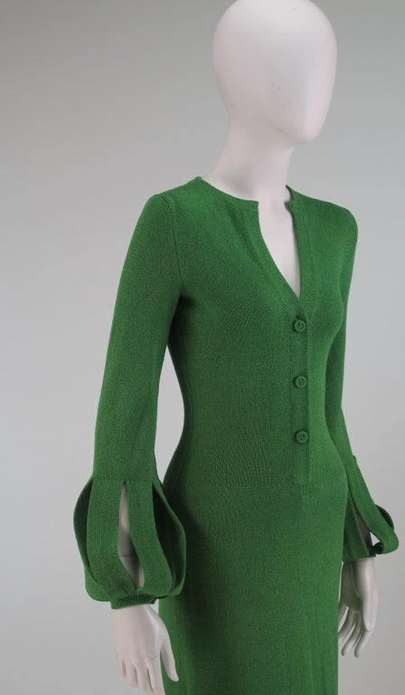 Adolfo boucle cage sleeve hostess gown 1970s 8